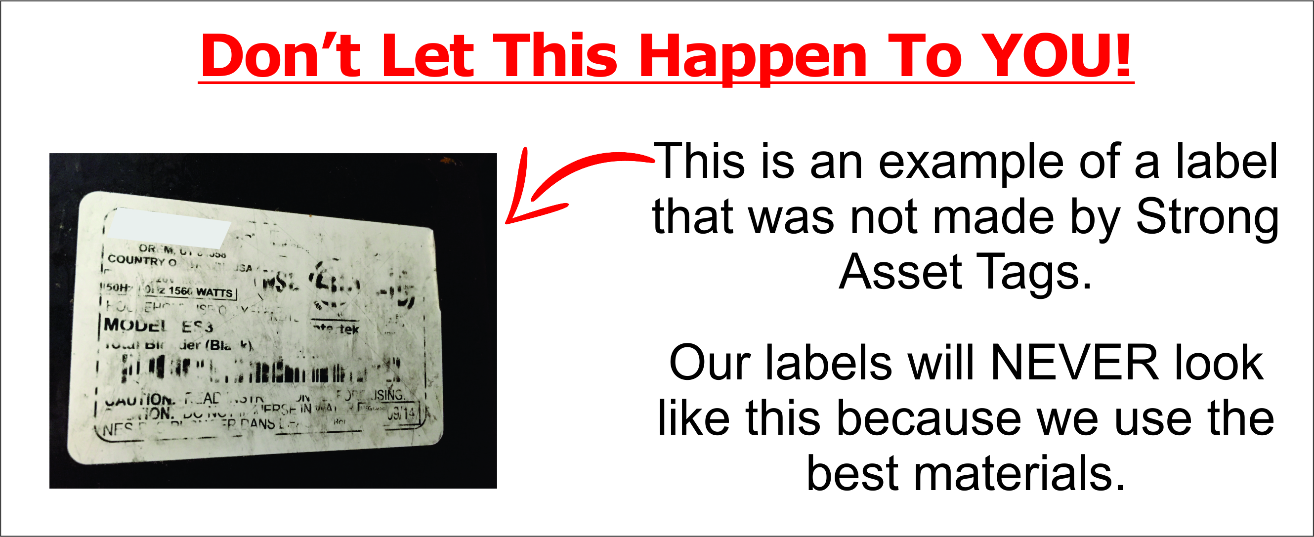 This image shows an asset tag that failed