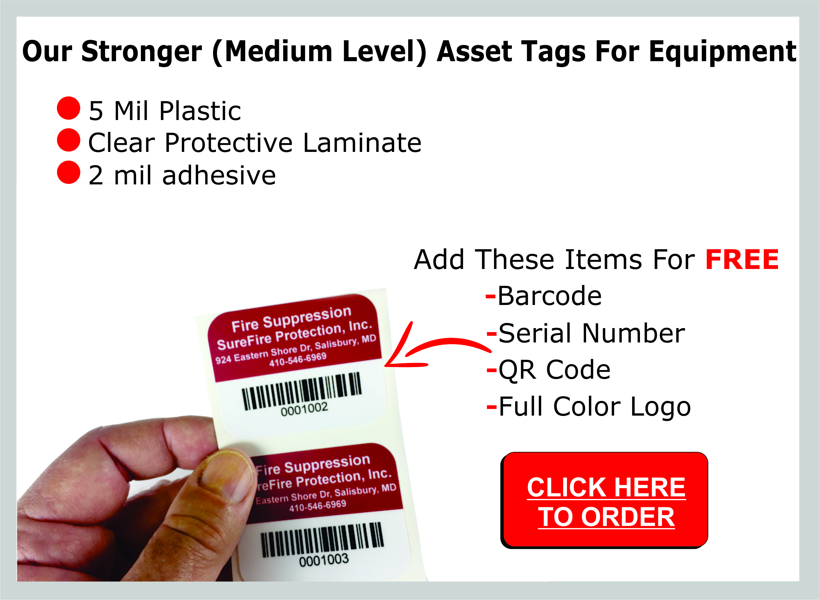 These are our asset tags for equipment