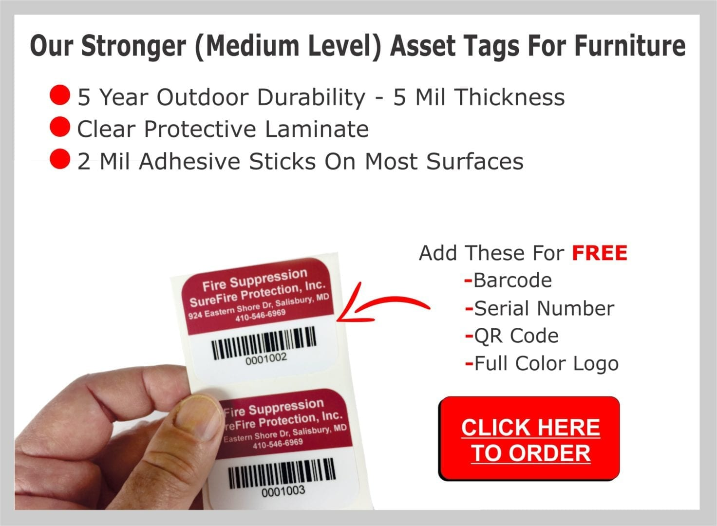 Details of our stronger level asset tags for furniture