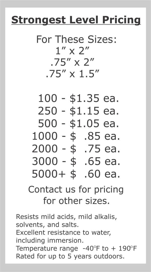 this is the pricing for our strongest level asset tags for furniture