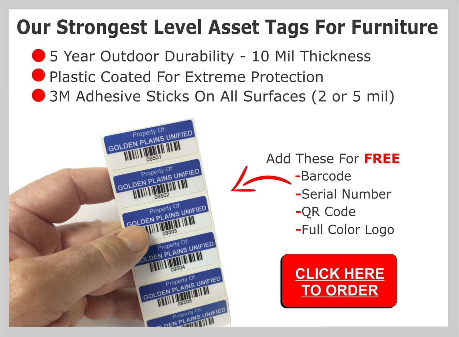 these are the features of our strongest level of asset tags for furniture