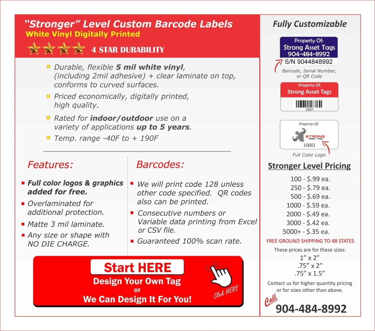 We have the strongest custom barcode labels.